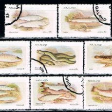 Sellos: NAGALAND, PECES, USADOS (SERIE COMPLETA). Lote 86864884