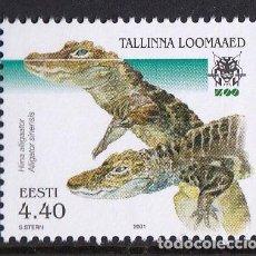 Sellos: ESTONIA 2001 FAUNA COCODRILOS ALIGATOR CHINO. Lote 95217947