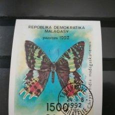 Sellos: HB /SELLOS DE MADAGASCAR (R.D.MALAGASY) MATASELLADA.1992.MARIPOSAS. INSECTOS. INVERTEBRADOS. FAUNA.. Lote 104038002