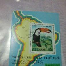 Sellos: HB/ SELLOS DE VIETNAM MATASELLADOS. 1983. EXPOSICION.BRASILIANA.MAPA.TUCO.CONTINENTE.SURAMERICA.AVES. Lote 105050671
