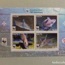 Sellos: MALTA MALTE 2011 FAUNA MARINA POISSONS PECES WWF 50TH ANNIVERSARY ** MNH. Lote 106969975