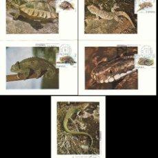 Sellos: EDIFIL 2192/6, FAUNA HISPANICA 1974, TARJETA MAXIMA DE PRIMER DIA DE 3-7-1974 SERIE COMPLETA. Lote 107585571