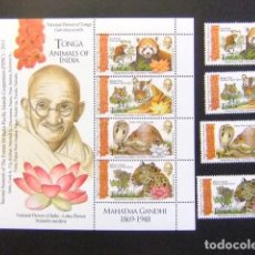 Sellos: TONGA 2015 ANIMALS GANDHI SNAKE LEOPARD LOTUS MNH MICHEL BLOC 100 +2074 / 77 ** MNH. Lote 109269939
