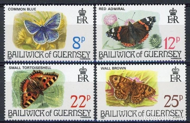 GUERNESEY 1981 IVERT 213/6 *** FAUNA - MARIPOSAS (Sellos - Temáticas - Fauna)