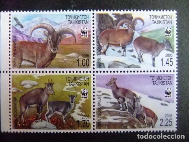 TAJIKISTAN 2005 PROTECCION DE LA FAUNA WWF BHARAL O OVEJA AZUL DEL HIMALAYA O NAUR YVERT 296 /99 ** (Sellos - Temáticas - Fauna)