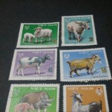 Sellos: SELLOS DE VIETNAM MTDOS. 1978. ANIMALES DOMÉSTICOS. CABRA. VACA. BUEY. OVEJA. GANADERIA.. Lote 111803110