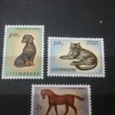 Timbres: SELLOS DE LUXEMBURGO NUEVOS CON BISAGRA. 1961. PROTECCION NATURALEZA. PERRO. CABALLO. GATO. ANIMALES. Lote 112931014