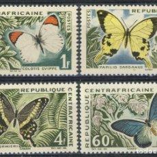 Sellos: CENTROAFRICANA 1963 IVERT 31/34 *** FAUNA - MARIPOSAS. Lote 113954607