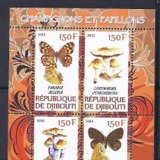 Sellos: DJIBOUTI 2012 *** FAUNA Y FLORA - SETAS Y MARIPOSAS. Lote 113990955