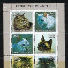 Sellos: R. GUINEA 2002 *** FAUNA - GATOS DE RAZA. Lote 117145243