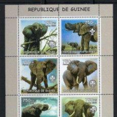 Sellos: R. GUINEA 2002 *** FAUNA SALVAJE - LOS ELEFANTES. Lote 117145315