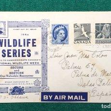 Sellos: SOBRE 1º DIA CANADA WILDLIFE SERIES. 1954. CIRCULADO DE OTAWA A PALMA DE MALLORCA. Lote 119044578