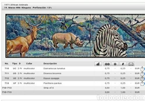 Sellos: Sellos R. de Burundi matasellados. 1971. Animales africanos. Antilope. Cebre. Pantera. Rinoceronte. - Foto 2 - 119267299