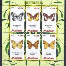 Sellos: MALAWI 2011 HB *** FAUNA - MARIPOSAS. Lote 120444227