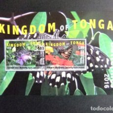 Sellos: KINGDOM OF TONGA 2016 BLOC BUTTERFLIES MARIPOSAS PAPILLIONS AIRMAIL EXPRESS EMS. Lote 121207947