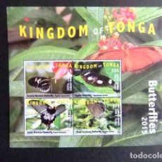 Sellos: KINGDOM OF TONGA 2015 BLOC BUTTERFLIES MARIPOSAS PAPILLIONS AIRMAIL EXPRESS EMS. Lote 121208015