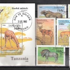 Sellos: TANZANIA Nº 1831/1837º Y H.B. 269º FAUNA AFRICANA. SERIE COMPLETA. Lote 121926947