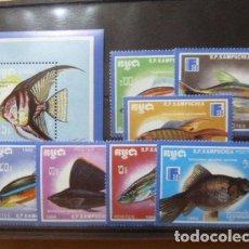 Sellos: CAMBOYA - KAMPUCHEA 1988 IVERT 816/22 Y HB 68 *** FAUNA - PECES - EXPOSICIÓN FILATELICA MUNDIAL. Lote 122012611