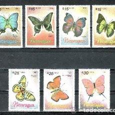 Sellos: NICARAGUA 1986 IVERT 1432 Y AEREO 1165/70 *** FAUNA - MARIPOSAS. Lote 122092839