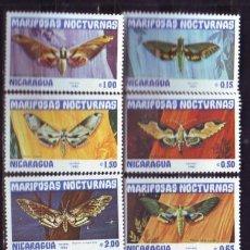 Sellos: NICARAGUA 1983 IVERT 1239/44 Y AEREO 1018 *** FAUNA - MARIPOSAS NOCTURNAS. Lote 122093207