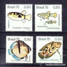 Sellos: BRASIL 1975 IVERT 1146/49 *** FAUNA - PECES DE AGUA DULCE. Lote 122094883