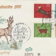 Sellos: ALEMANIA Nº 364/7, ANIMALES CON CORNAMENTA, PRIMER DIA DE 22-4-1966. Lote 128021903