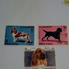 Sellos: UMM AL QIWAIN EMIRATOS ÁRABES FAUNA ANIMALES PERRO. Lote 131204651