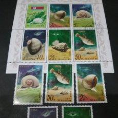 Sellos: HB+SELLOS KOREA NORTE MTDOS (COREA.DPRK). 1977. VIDA MARINA. CONCHA. CARACOLES. PECES. BANDERA. ARRE. Lote 131755621