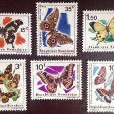 Sellos: RWANDA 1966 IVERT 138/43 *** FAUNA - MARIPOSAS. Lote 135353994