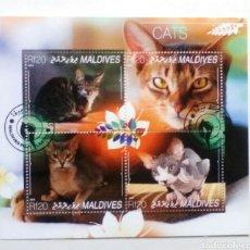 Sellos - Maldivas hoja bloque de sellos usados - 139523464