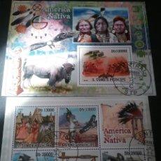 Sellos: HB S. TOME Y PRINCIPE MTDOS/2009/NATIVOS AMERICANOS, INDIOS/LOBO/FAUNA/AVES/BUFALO/TOTEM/CABALLO/PIE. Lote 139970465