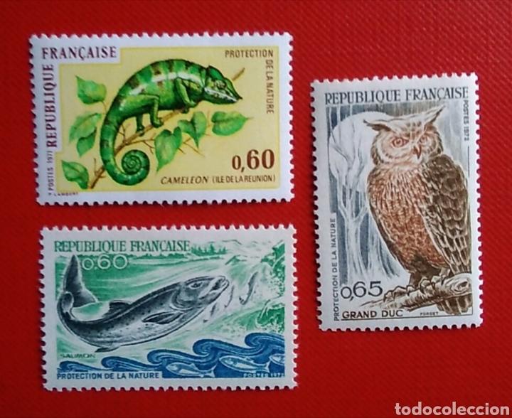 3 SELLOS FRANCIA 1692 / 94 PROTECCIÓN DE LA FAUNA CAMALEÓN SALMÓN BÚHO AÑO 1971 NUEVO (Sellos - Temáticas - Fauna)