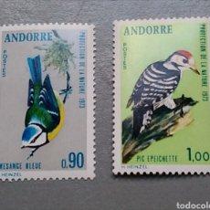 Sellos: SELLOS ANDORRA ANDORRE FRANCESA 232 / 33 PÁJAROS HERRERILLO Y CARPINTERO AÑO 1973 SERIE NUEVA. Lote 142161498