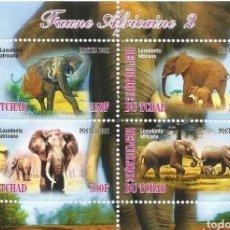 Sellos: HOJA BLOQUE ANIMALES ELEFANTES DE TCHAD. Lote 142236010