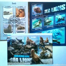 Sellos: LEONES MARINOS 3 HOJAS BLOQUE DE SELLOS USADOS RECIENTES DE SIERRA LEONA. Lote 143988290