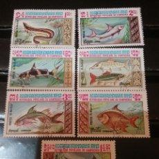 Sellos: SELLOS KAMPUCHEA (CAMBOYA) MTDOS(+/- SEÑAL BISAGRA)/1983/FAUNA, VIDA MARINA/PESCADOS/PECES/ANIMALES/. Lote 144150382