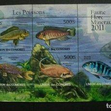 Sellos: COMORES-2011-Y&T 2180/84 + BL. 304**(MNH)-FAUNA MARINA-PESEZ. Lote 147088754