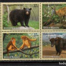Sellos: NACIONES UNIDAS 927/30** - AÑO 2004 - FAUNA - ANIMALES AMENAZADOS DE EXTINCION. Lote 148188374