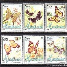 Sellos: CUBA 1991 IVERT 3093/98 *** FAUNA - MARIPOSAS DIVERSAS. Lote 148472778