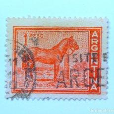 Sellos: SELLO POSTAL ARGENTINA 1959, 1 PESO, CABALLO CRIOLLO , USADO. Lote 149782586
