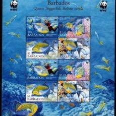 Sellos: BARBADOS - WWF PECES - HOJA BLOQUE - 2 SERIES COMPLETAS - NUEVA SIN FIJASELLOS. Lote 151317070