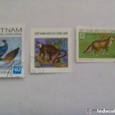 Sellos: LOTE DE 3 SELLOS DE VIETNAM : ANIMALES. Lote 151345738