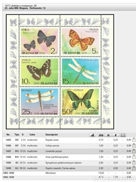 Briefmarken: HB Corea Norte mtda (DPKR)/1977/mariposas/animales/fauna/insectos/polillas/libelula/invertebrados/ - Foto 3 - 151362980