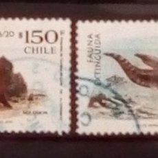 Sellos: CHILE DINOSAURIOS 2 SELLOS USADOS. Lote 151379116