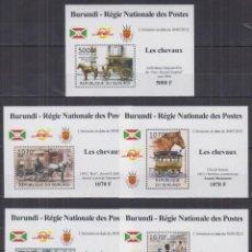 Sellos: BURUNDI 2012 - 5 HOJITAS LUX - SERIE COMPLETA - CARRUAJES Y CABALLOS - NUEVAS, SIN FIJASELLO . Lote 151489642