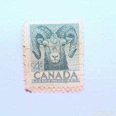 Sellos: SELLO POSTAL CANADA 1953, 4 CENTS , BORREGO CIMARRON ,CONMEMORATIVO, USADO. Lote 153091282