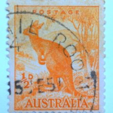 Sellos: SELLO POSTAL AUSTRALIA 1949, 1/2 D, CANGURO ROJO, USADO. Lote 153564750