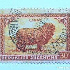 Sellos: SELLO POSTAL ARGENTINA 1945 , 30 C, OVEJA MERINA, USADO. Lote 153592458