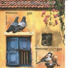 Sellos: HOJA BLOQUE DE 2 SELLOS DE INDIA TEMA FAUNA: AVES . Lote 154127538