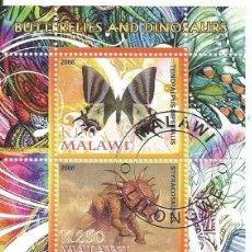 Sellos: HOJA BLOQUE DE 2 SELLOS DE MALAWI TEMA MARIPOSAS Y DINOSAURIOS LOTE2. Lote 154130742